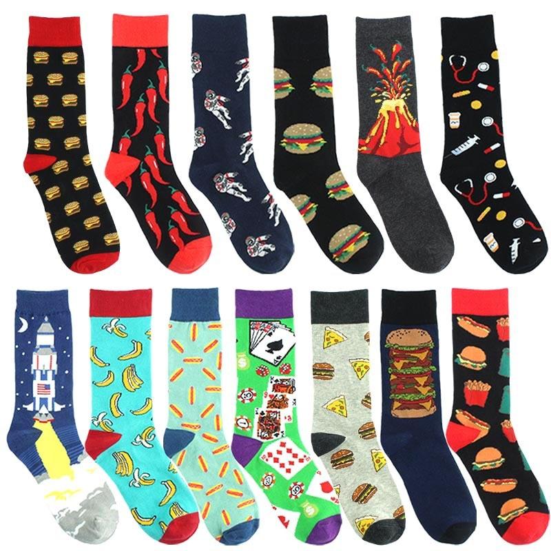 Funny Men's Socks New Food Burger Fries Astronaut Rocket Volcano Medical Equipment Style Men's High Sock Street Wear