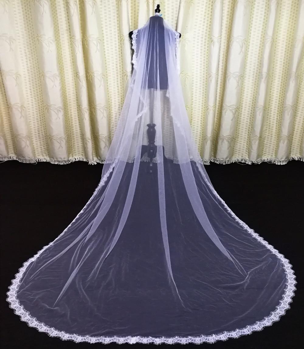 One Layer Full Edge with Eye Lash Lace Wedding Veil 3M 4M WIth Comb 2019 Elegant Long Bridal Veil Velos De Novia