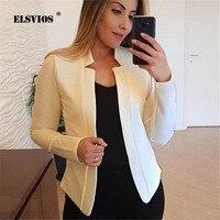ELSVIOS, плюс размер, женское осеннее однотонное пальто, OL, элегантное, модное, для работы, бизнес, куртки, Femme, элегантный, тонкий, открытый карди...