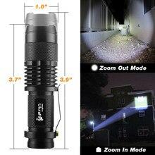 Imperméable à l'eau Super Puissante LAMPE DE POCHE LED Q5 2000lm torche 3 Modes Flash Lumière Zoomable D'autodéfense Pas Tazer Choc Mini Stylo