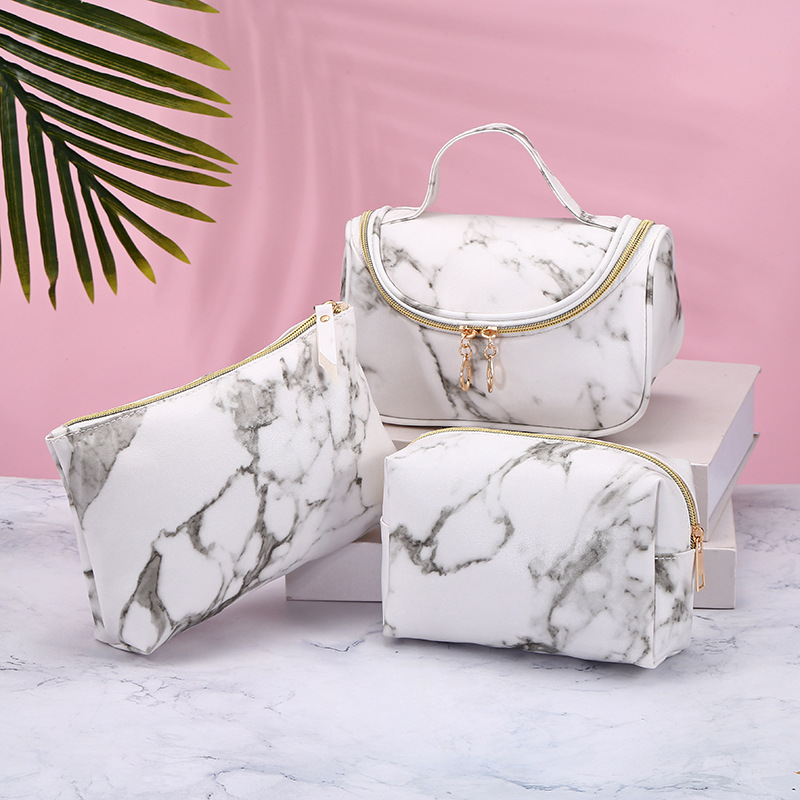 2020 New Women Waterproof  Zipper Cosmetic Bag Travel Beauty Marble Style Wash Toiletry Makup Organizer Box Case Bags Pouch