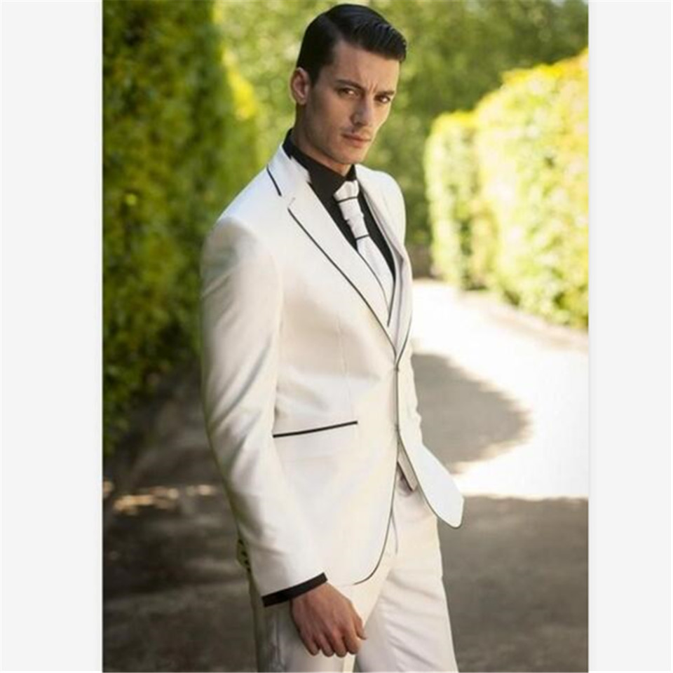 New Men's Suit Smolking Noivo Terno Slim Fit Easculino Evening Suits For Men Ivory Groomsmen Prom Tuxedos Tailored Blazer (Jacke