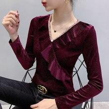 #5680 nero rosso t-shirt da donna nero rosso scollo a V increspato increspature moda Sexy t-shirt a maniche lunghe Top Slim primavera autunno 2021