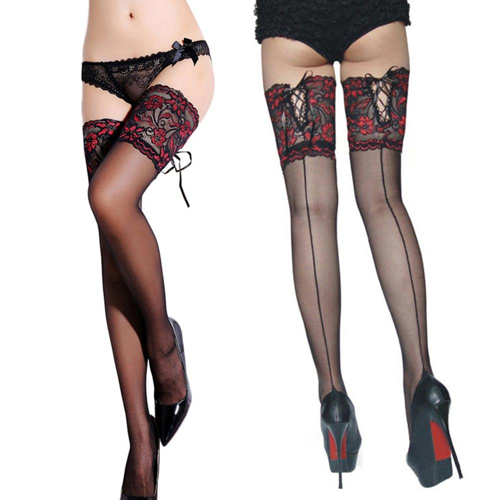 2019 New Punk Maid Sexy Heel Back Sheer Stockings Wide Lace Up Hold Up Silicone 16cm Floral Top Thigh High Cross Bandage Stockin