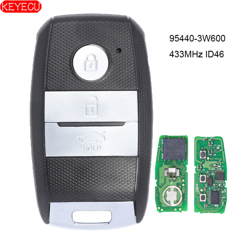 keyecu inteligente remoto chave fob 3 botao 433 mhz id46 chip para kia k5 sportsge