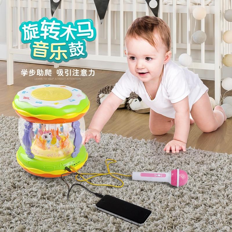 Xie Cheng 6009 Music Drum Children Zao Jiao Bao Treasure Microphone Educational Music Hand Drum Merry-go-round Drum