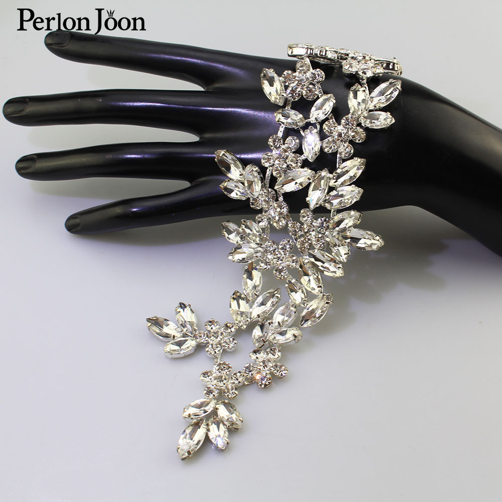 Ab Crystal rhinestone applique Welding flower patch sew on Wedding dress sleeves accessories YH Z013 image