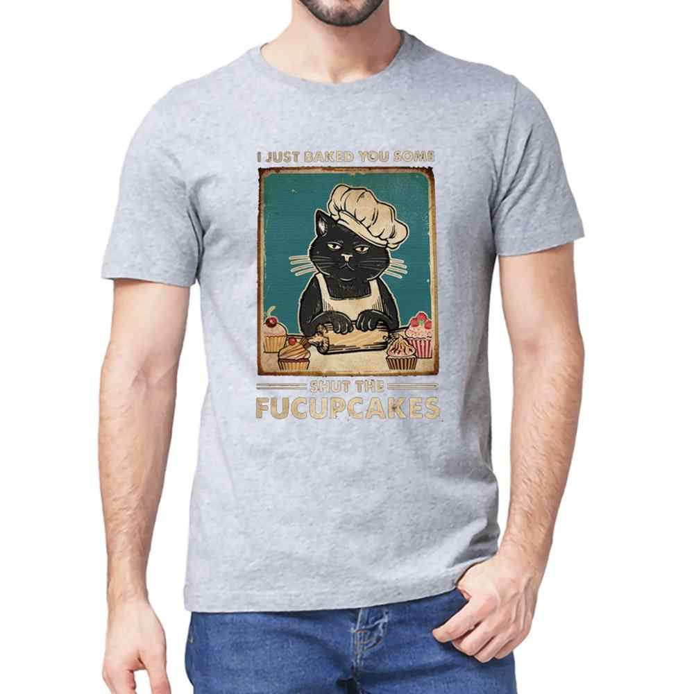 Funny Black Cat I Just Baked You Some Shut The Fucupcakes Vintage Men/'s T Shirt