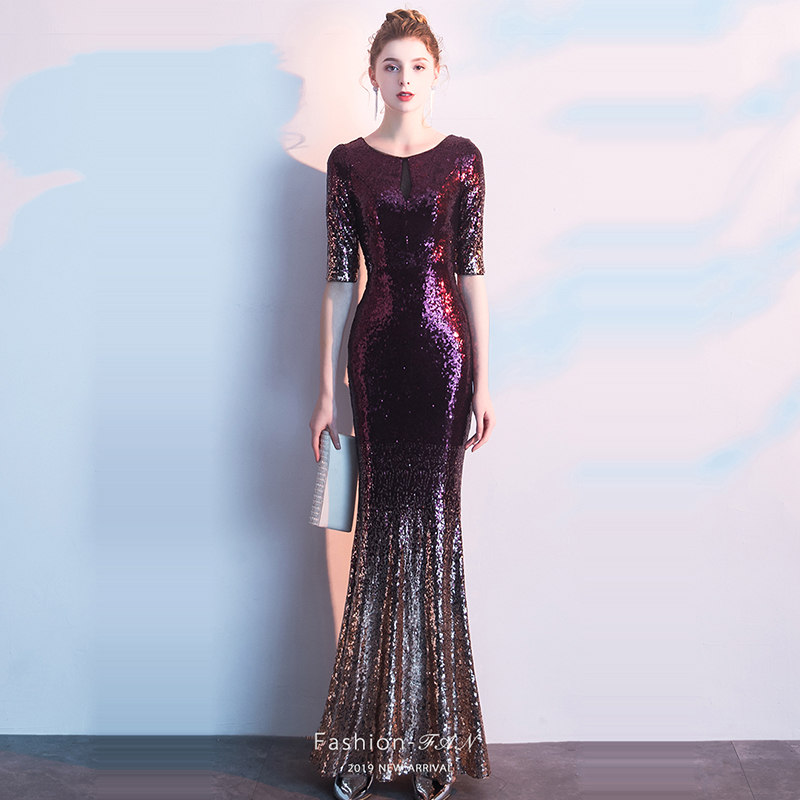 Evening Dress Half-sleeve Women Party Dresses O-neck Sequin Elegant Robe De Soiree 2019 Hollow Floor Length Formal Gowns F176