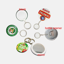 Magnetic Bottle Opener Key Ring Mirror Metal Button Pins Blank Button Badge Parts Maker значки наборSupplies 44/58MM 50pcs
