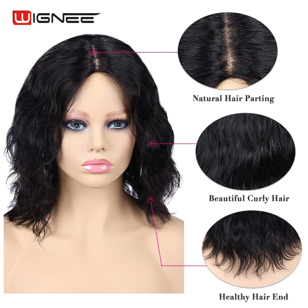 Wignee court bouclés perruques humaines pour les femmes noires/blanches 150% densité Remy péruvien cheveux sans colle vague courte perruque humaine livraison gratuite