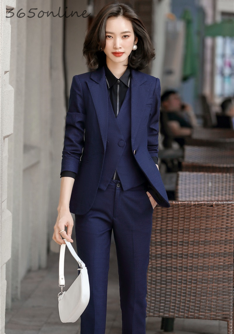 Formal Uniform Designs Pantsuits For Women Business Work Wear Suits Spring Autumn Ladies Office Blazers OL Styles Pantsuits