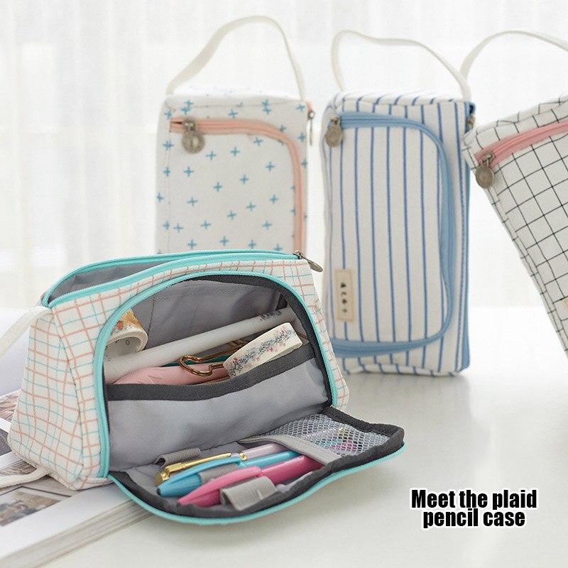 Plaid Pencil Case Multifunction Portable Large Capacity Simple Storage Bag ND998