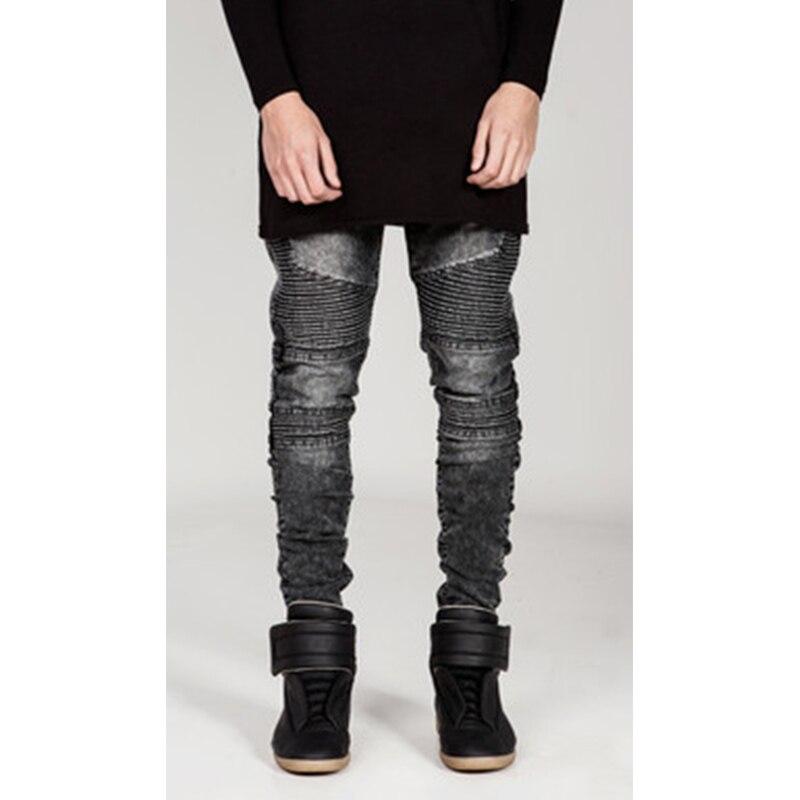 Европейские, американские уличные спортивные локомотивные мужские тонкие микро-эластичные джинсы большого размера в Корейском стиле