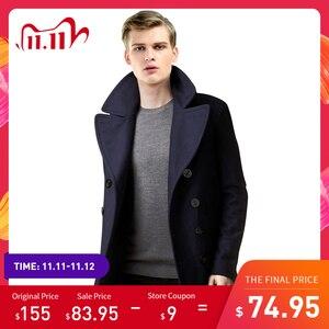 Image 1 - Men Short Coat Wool Blending Outerwear 2020 Spring Autumn Male Double Breasted Short Solid Plus Size Woolen coat
