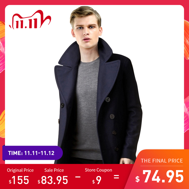 Men Short Coat Wool Blending Outerwear 2020 Spring Autumn Male Double Breasted Short Solid Plus Size Woolen coat