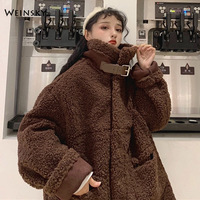 Casual Style Winter Women Faux Fur Thick Oversized Teddy Bear Coat 2019 Fashion Female Pink Overcoat