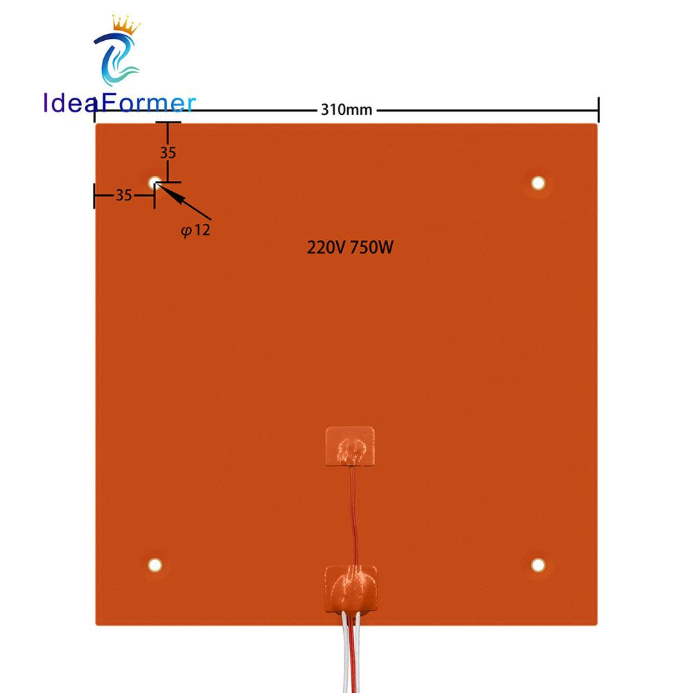 3D Printer Silicone <font><b>Heating</b></font> Pad 310x310mm 220V 750W Hot <font><b>Bed</b></font> For Creality CR-10 10S Pro Heater Pad Plate Print Heater Parts. image