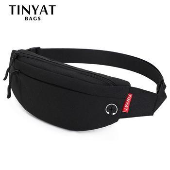 TINYAT Men Waist Bag pack Purse Casual Large Phone Belt Bag Pouch Women Canvas Travel Phone Bag Fanny Banana Bag Hip 4 Pockets