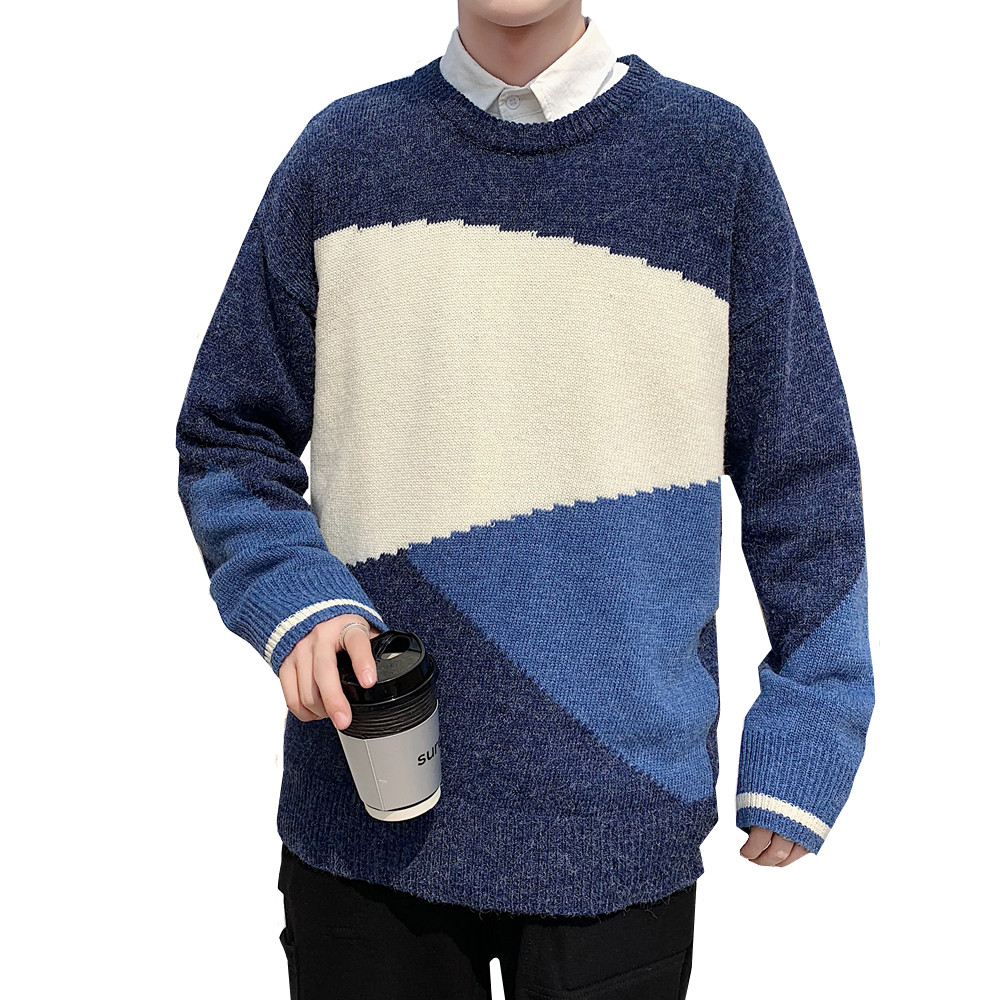 Mens Sweaters Autumn Winter Casual Pullover O-neck Long Sleeve Color Matching Leisure Young Handsome Knitted Sweater Tops
