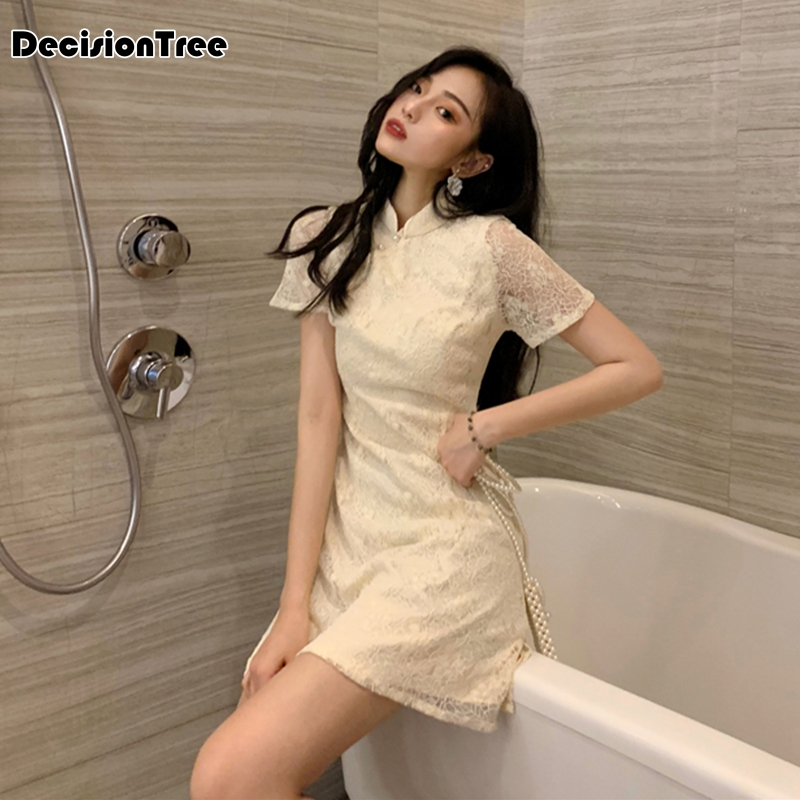 2020 Oriental Bride Wedding Evening Party Dress Chinese Traditional Embroidery Female Cheongsam Lace Knee Length Qipao
