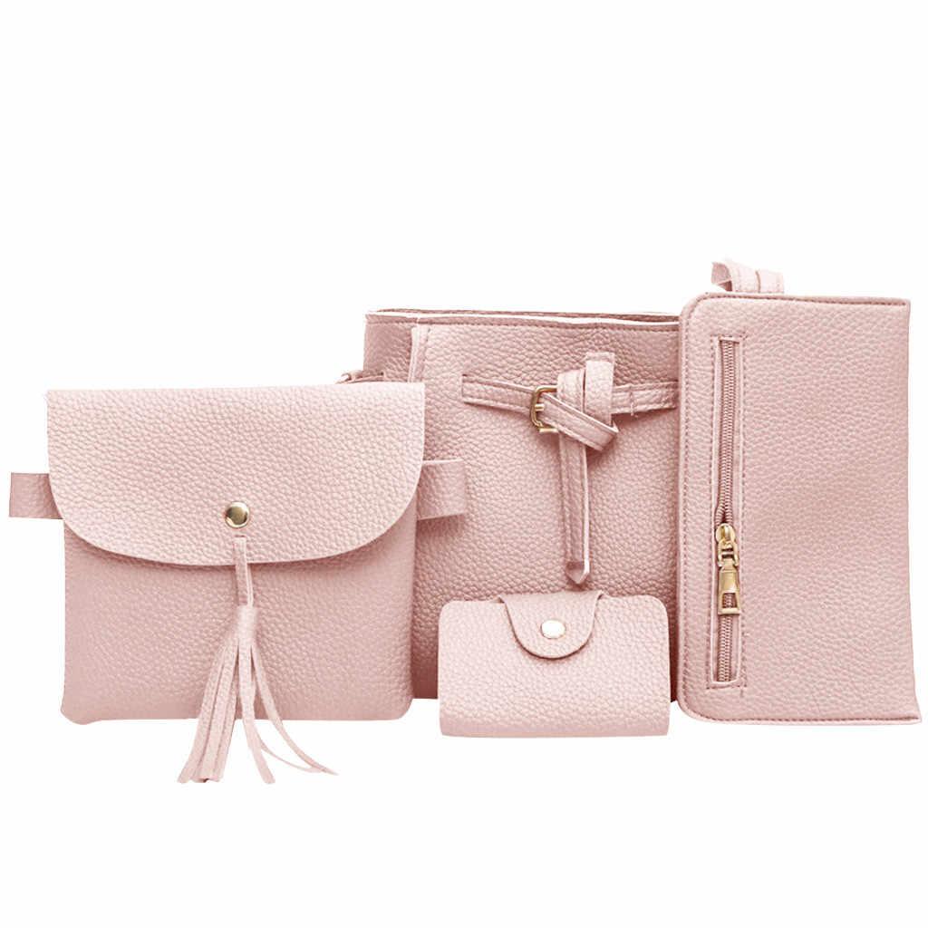 Tas Wanita 2019 Baru Fashion Empat Potong Bahu Messenger Tas Dompet Komposit Tas Elegan Anti-Theft Komposit Perjalanan tas