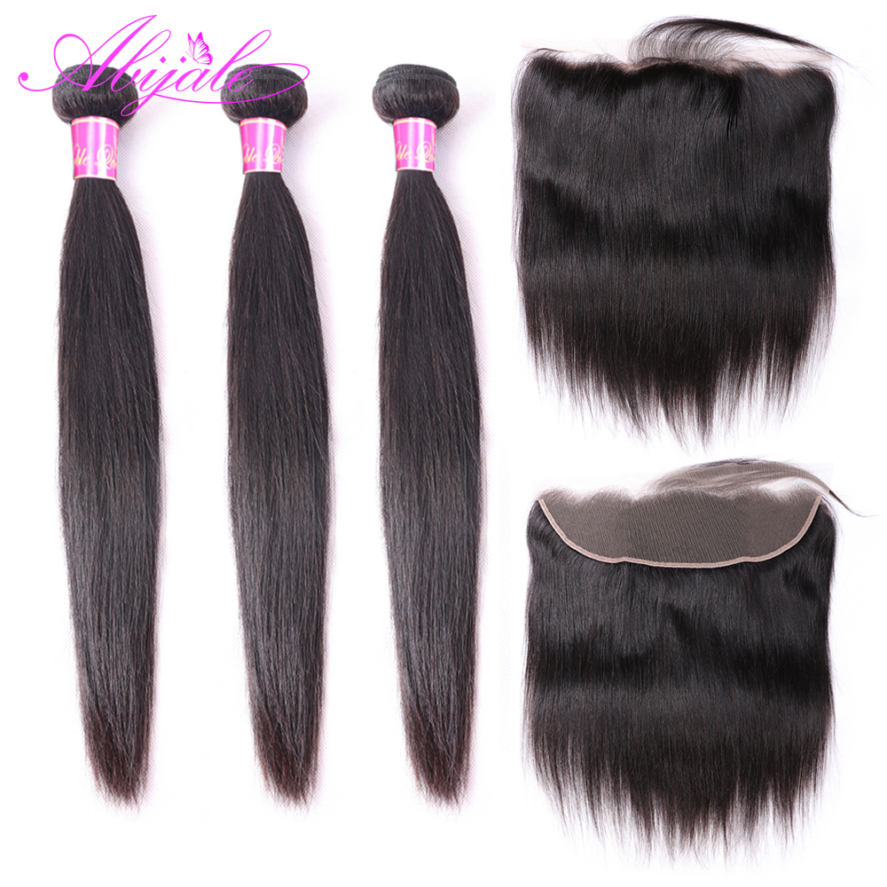Abijale Straight Hair Bundles With Frontal Closure Brazilian Hair Weave Bundles Remy Human Hair Bundles With Closure