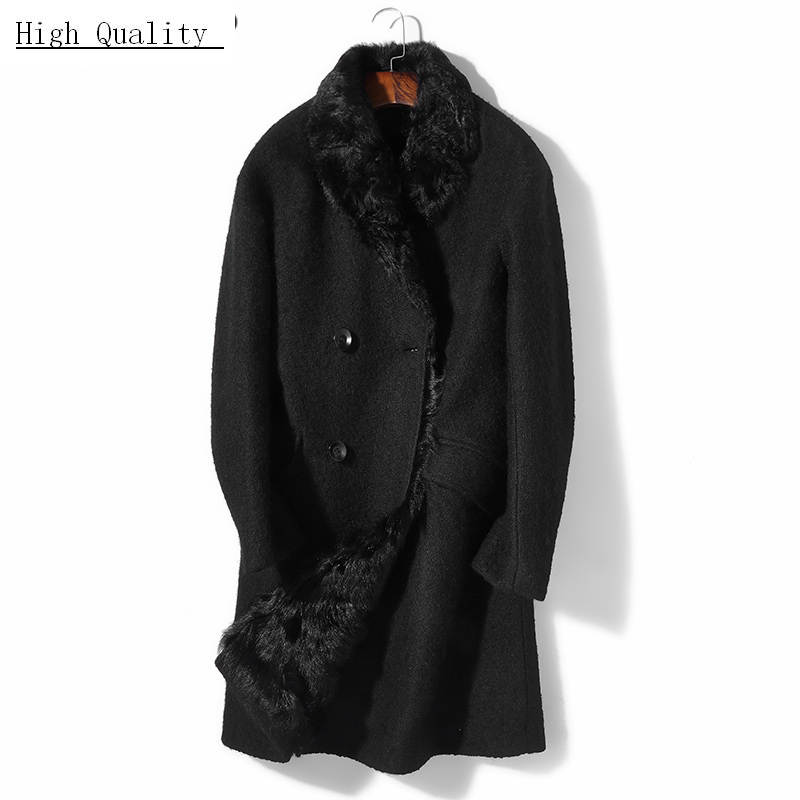 Real Fur Coat Men Winter Clothes 2020 Korean Long 100% Wool Fur Liner Jackets Man Streetwear Fashion Fur Overcoat 8370B