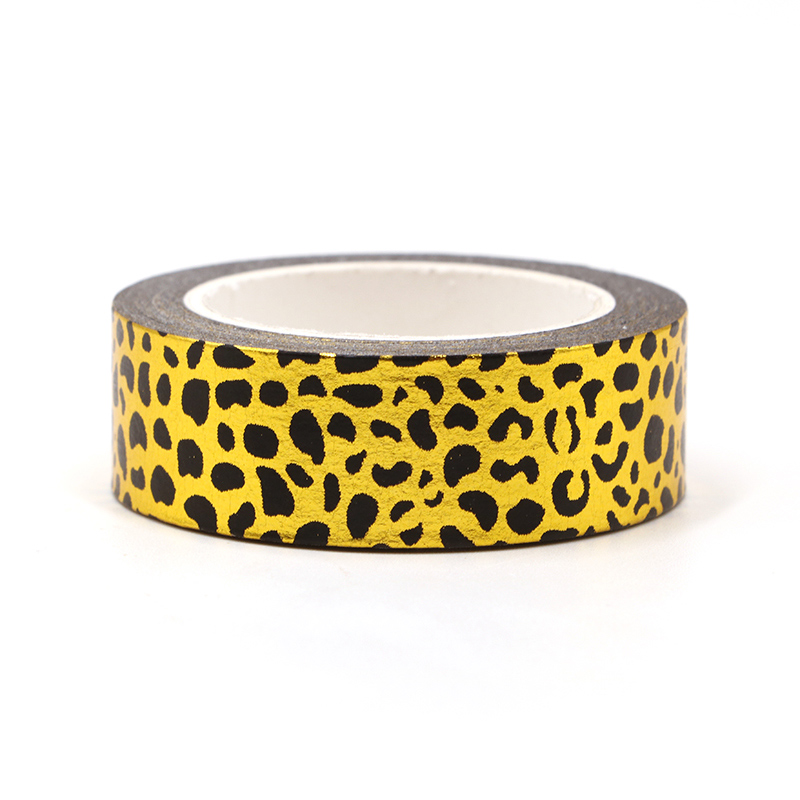 New 1PC Leopard Gold Foil Washi Tape For Scrapbooking Planner Adhesive Masking Tapes Kawaii Stationery