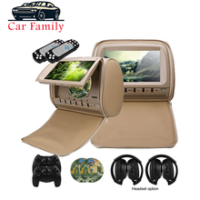 2PCS 9 אינץ רכב משענת ראש צג נגן DVD TFT LCD מסך עם רוכסן כיסוי תמיכת IR/FM Transmitte /USB/SD/רמקול/משחק
