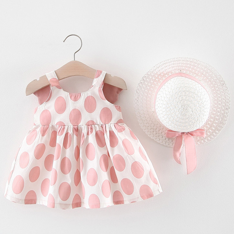 Baby Dress Girl Dress Summer 2 Pieces Dress And Hat Set Children Clothes Baby Birthday Gift Sleeveless Party Princess Baby Dress