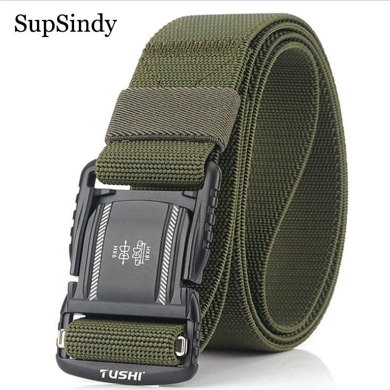SupSindy Military Combat Tactical Belts For Men Quick Release Metal Buckle Stretch Elastic Nylon Training Canvas Belt Male Strap