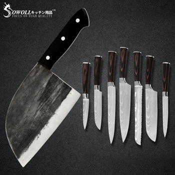 Sowoll Handmade Forged Butcher Kitchen Chef Knives Set Stainless Steel Sharp Blade 1
