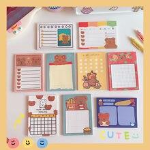Minkys 50 folhas kawaii urso bloco de notas papel nota diário para fazê-lo lista de verificação paperlaria escola artigos de papelaria suprimentos
