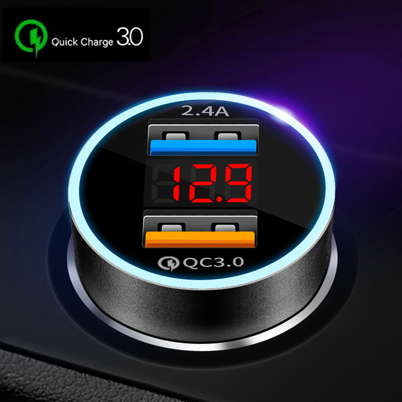 Brand new Silver Portable Dual USB Car Charger Adapter LED Display Fast Charging