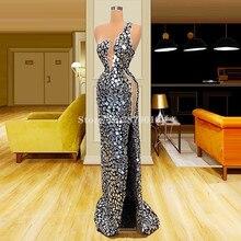 Abiti da sera a sirena con pietre di perline di lusso abiti da ballo lunghi al pavimento abito formale arabo 2020 Dubai