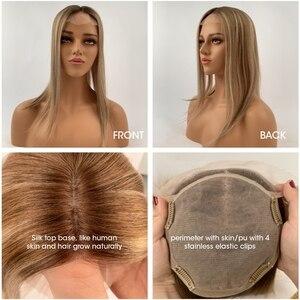 """Image 5 - Neitsi 16 """"20"""" 6*6.5 """"Straight Silk Base Virgin Cuticle Vrouw Remy Haar Topper Pruik Met clip In Natuurlijke Menselijk Toupetje Haarstukken"""