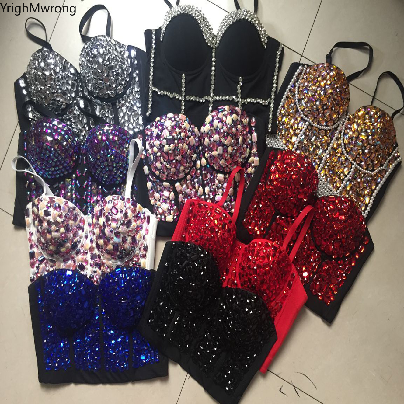 Blig Bling Rainbow Mermaid Crystal Rhinestone Beading Diamond Embroidered Jeweled Pearl Push Up Bustier Crop Top Cropped Vest Лосины