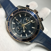 Get more info on the luxury brand watch day quartz Blaue dail watches chronograph function works stainless steel case leather strap AAA quality