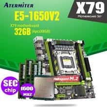 Atermiter X79 X79G motherboard LGA2011 mini ATX combos E5 1650 V2 SR1AQ CPU 4 stücke x 8GB = 32GB DDR3 RAM 1600Mhz PC3 12800R