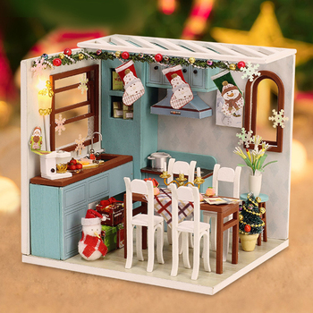 Christmas Goods Diy Miniature Dollhouse Kit Wooden House Kitchen Room Box New Year Gift Toys For Children Doll Furniture