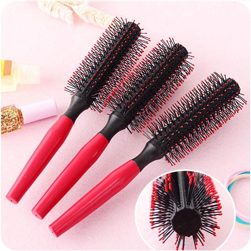 Portable 1pcs Women Round Hair Care Brush Hairbrush Salon Styling Dressing Curling Comb Wavy Beauty Roll Brush Natural Bristle