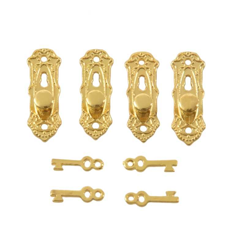 4Pcs 1/12 Dollhouse Vintageประตูล็อคคีย์ --- Golden