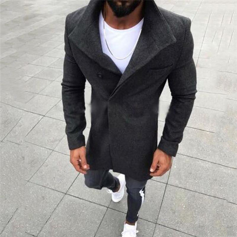 SHUJIN Men Fashion Trench Coats Classic Business Men Long Jacket Turn Down Button Autumn Thin Brand Outwear Overcoat 2019