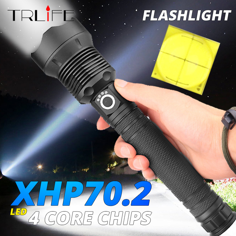 Brightest XHP70.2 XHP50 USB Rechargeable LED Flashlight Powerful Torch Waterproof Zoom Hunting Light Use 18650 Or 26650 Batte