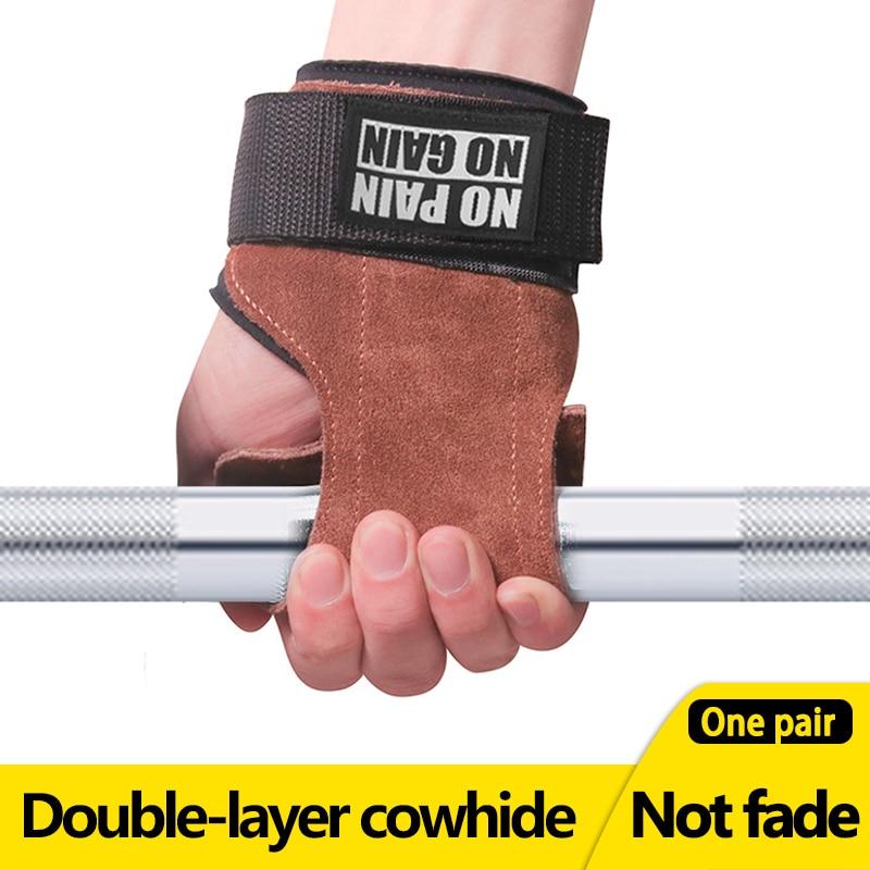 Перчатки из воловьей кожи для тренажерного зала, противоскользящие подъемные подушечки для силового ремня, Deadlift пояс для тренировки, Кросс...