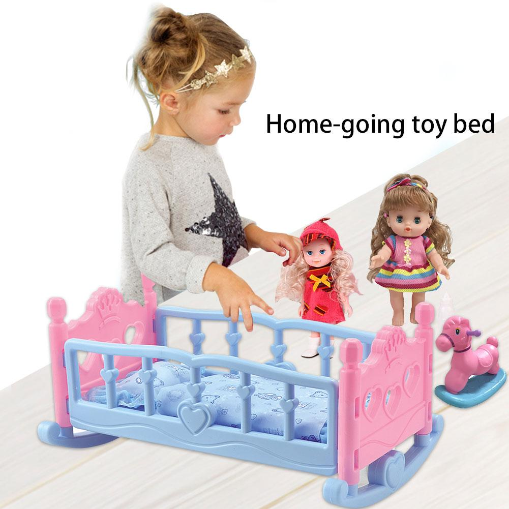 Children Girls Play House Toy Bed Princess Doll Toys Shaker Hammock Simulation Crib