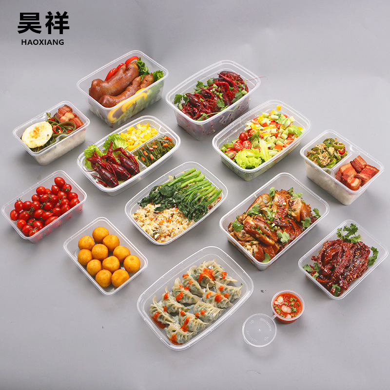 Hao Xiang Manufacturers Wholesale Environmentally Friendly Disposable Lunch Box Rectangular Plastic Take-out Bale Box Pp Contain