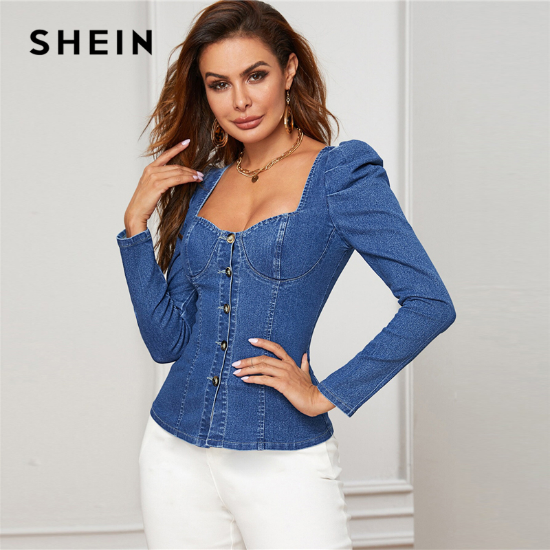 SHEIN Blue Button Up Puff Sleeve Bustier Denim Top Shirt Women Autumn Sweetheart Neck Slim Fitted Sexy Tops and Blouses 2