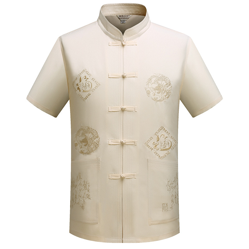Chinese Style Chinese Costume Middle-aged MEN'S Short Sleeve Shirt Chinese Clothing Chinese-style Chinese Clothing Summer Mornin